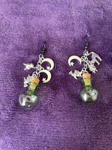 Witch Potion Halloween Earrings Cauldron Cat Moon - UK Seller