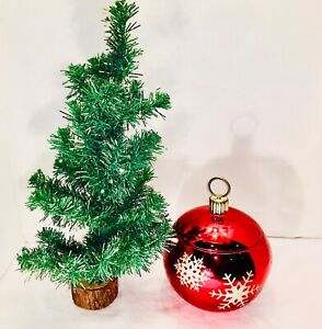 SMALL CHRISTMAS TREE GREEN  ARTIFICIAL NATURAL STYLE PINE TREE W/Candy Dish