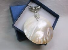 Huge Mother of Pearl Shell Pendant on Stainless Steel Chain Christmas Gift