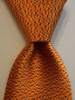 "BRIONI Men's Silk XL 62"" Necktie ITALY Luxury Designer Geometric Orange/Blue GUC"