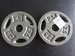 """New Pair of 2.5 lb Standard Grip Weider Weight Plates 1"""" Dumbell Cast Iron"""