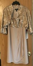 R&M Richards 14 Taupe Mother of the Bride Groom Dress & Shrug Sequins NWT