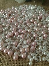 Diamonds, Pearl Confetti For Candle Or Wine Fillers-500pc Mix Light Pink/White