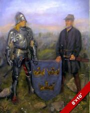 MEDIEVAL SWEDISH KNIGHT IN ARMOR 3 CROWNS COAT OF ARMS PAINTING ART CANVASPRINT