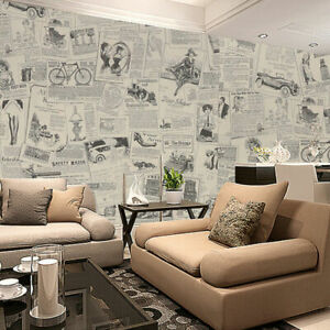 "118"" Vintage Newspaper Wallpaper Sticker Self Adhesive Contact Paper Wall Cover"