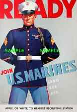"""WWII  USMC """"Join The US Marines"""" 1942 [ 8.5"""" x 11' ]   Poster"""