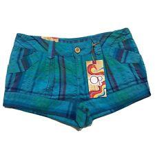 NWT OP Shorts Women 7 Blue Plaid Beach Overdye Bathing Suit Bottom Pocket
