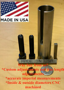 """Extended 1 to 1 1/ 8 inch 1/4"""" Key Gas Engine Pulley Crank Shaft Sleeve Adapter"""