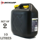 2 X 10l Dunlop Black Plastic Jerry Can Diesel Petrol Fuel Oil Water Canister New