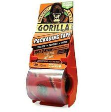 Gorilla Packaging Tape Clear 72mm x 18M Selotape Roll Hand Held Dispenser Includ