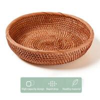 Storage Basket Round Rattan Tray Bread Fruit Food Snacks Breakfast Display New