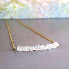 New listing djs Sundance Sol Tiny Rainbow Moonstone Gemstone Gold Filled Chain Bead Necklace