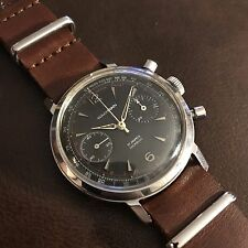 Rare Jet Black Dial Vintage Wakmann Two Register Chronograph