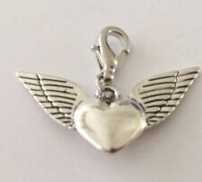 LOVELY SILVER HEART WITH WINGS CLIP ON CHARM FOR BRACELETS-TIBETIAN SILVER - NEW