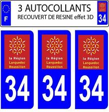 3 sticker plaque immatriculation auto DOMING 3D RESINE LANGUEDOC ROUSSILLON 34
