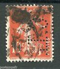 FRANCE 1907, timbre perforé 138, type SEMEUSE, oblitéré, PERFIN STAMP, LOT 002
