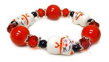 """Red with Black Maneki Neko Lucky Cat Stretch Bracelet 7.5"""" New with Gift Bag"""