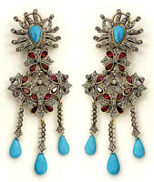 Victorian 3.56ct Rose Cut Diamond Turquoise Ruby Earrings Thanks Giving Day