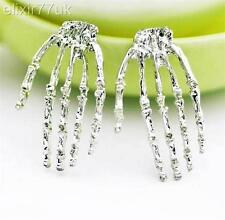 SILVER PLATED SKULL ZOMBIE HAND STUD EARRINGS KITSCH GOTHIC PUNK ROCK RETRO GIFT
