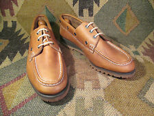 NEW NOS BROWN LEATHER UPPERS BOAT SHOES VIBRAM SOLE SIZE 10N USA MADE
