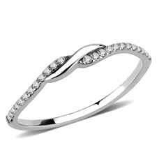 Ladies cz ring band solitaire accents stainless steel silver pretty elegant 263