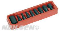 9 pièces Hex Set de mèches 1.3cm douille avec 12mm S2 embouts - Chrome