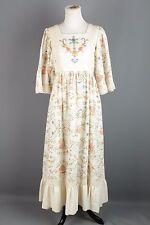 VTG 60s 70s Cream Cotton Maxi Dress w/ Embroidery Detail #1409 1970s 1960s