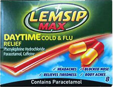 Lemsip Max Daytime Cold & Flue Relief Capsules 8 Pack-Relieves Aches ,Tiredness