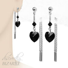 Sterling Silver Swarovski Jet Crystal Heart Long Chain Drop Front Back Earrings