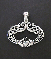 Sterling Silver Oval Irish Celtic Claddagh Pendant Friendship Love Loyalty