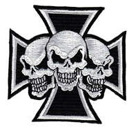 ak44 Totenkopf Biker Chopper Eisernes Kreuz Aufnäher Bügelbild Patch Kutte MC