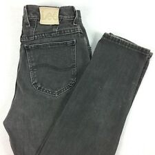 VTG 80s 90s LEE High Waist Mom Jeans 26 x 30 Tapered Leg Nicely Faded Black Wash