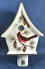Night Light Birdhouse Cardinal in the Pines porcelain lamp home decor