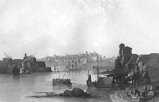 VALETTA VALLETTA MALTA GRAND HARBOR MARSA Fort Walls ~ 1841 Art Print Engraving