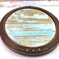 """Antique Oval Beveled Glass Mirror Plaster Gold Gilded Ornate Floral Frame 22"""""""