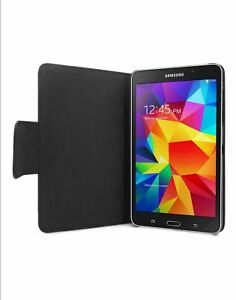 Samsung Galaxy Tab 4 Leather Style Folio Case / Cover / Stand - Black (2837)