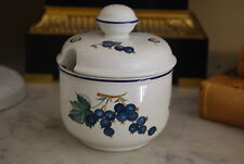 Beautiful Villeroy Boch Fruit Blueberry Decorated Porcelain Sugar Jam Lid & Bowl