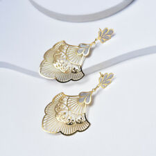 Yellow Gold Filled Dangle Earrings for Women with Silver Enamel, Fashion Jewelry
