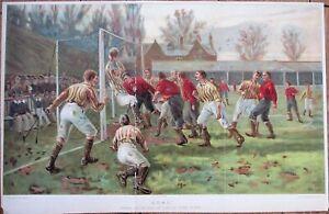 Football Print 1880s Thomas M. Hemy Artist, Afl Cook, Leeds - Color Litho