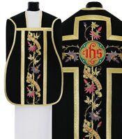 Pianeta Nera con stola R715-CZ25 Casula Romana Paramento liturgico VARI COLORI