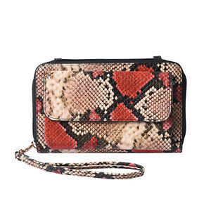 PASSAGE Black Red Snake Faux Leather RFID Crossbody Bag Power Bank USB Cable