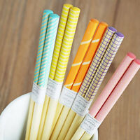5 Pairs Candy Bamboo Lattice Anti Slip Chopsticks Chop Reusable Sushi Sticks Set