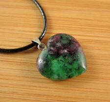 Ruby Zoisite Natural Gemstone Heart Pendant on a Black Cord Necklace #818