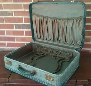 Vintage Green American Tourister Taper Sided Suitcase Shabby Luggage