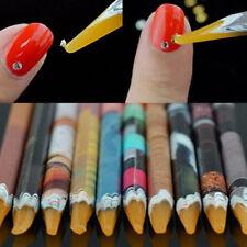 2x Rhinestones Pencil Diamond Nail Art Pen Set Pedicure Crystals Wax Manicure
