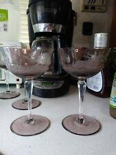 Pair of lilac amethyst Cut Elk Intaglio Bohemian Wine Hock Stems.