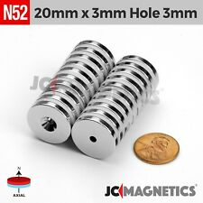 20mm X 3mm Hole 3mm Strong N52 Countersunk Ring Rare Earth Neodymium Magnet