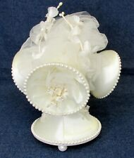Vintage 1968 Ivory Coast Novelty Wedding Bells Cake Topper Decoration Satin 8""