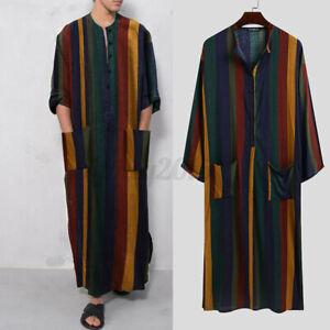 Men Muslim Clothing Thobe Long Sleeve Islamic Jubba Saudi Thobe Kaftan Dress Top