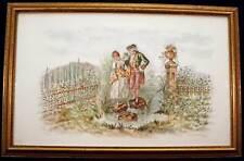 Painted Porcelain Plaque Art tile Victorian Couple in Garden Professional Frame